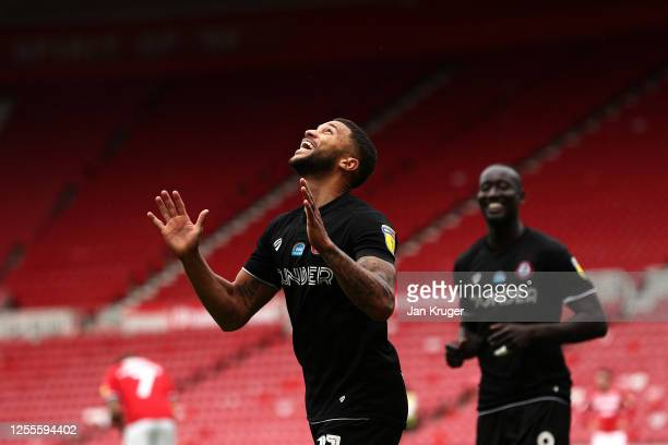 Nahki Wells of Bristol City celebrates scoring his second goal during the Sky Bet Championship match between Middlesbrough and Bristol City at...