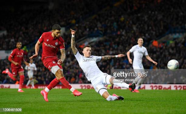 Nahki Wells of Bristol City shoots during the Sky Bet Championship match between Leeds United and Bristol City at Elland Road on February 15, 2020 in...