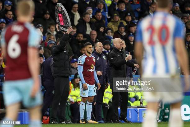 Nahki Wells of Burnley comes on during the Premier League match between Huddersfield Town and Burnley at John Smith's Stadium on December 30 2017 in...