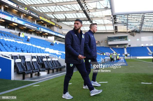Nahki Wells of Burnley walks out to take a look around the stadium prior to the Premier League match between Brighton and Hove Albion and Burnley at...