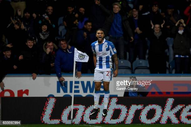 Nahki Wells of Huddersfield celebrates after scoring his team's second goal during the Sky Bet Championship match between Huddersfield Town and...