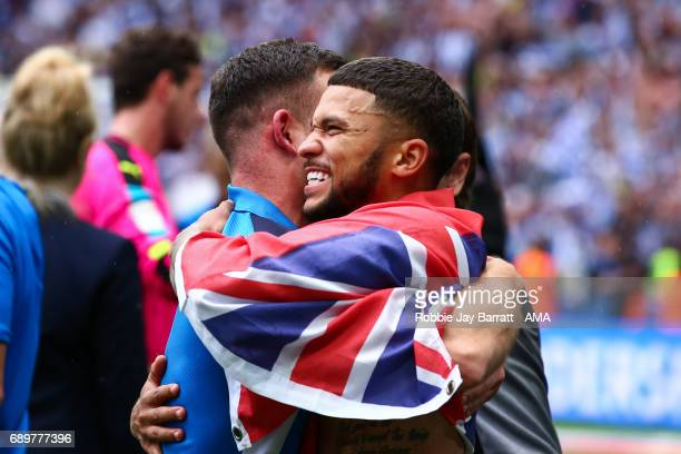 Nahki Wells of Huddersfield Town and Harry Bunn of Huddersfield Town celebrate during the Sky Bet Championship Play Off Final match between Reading...