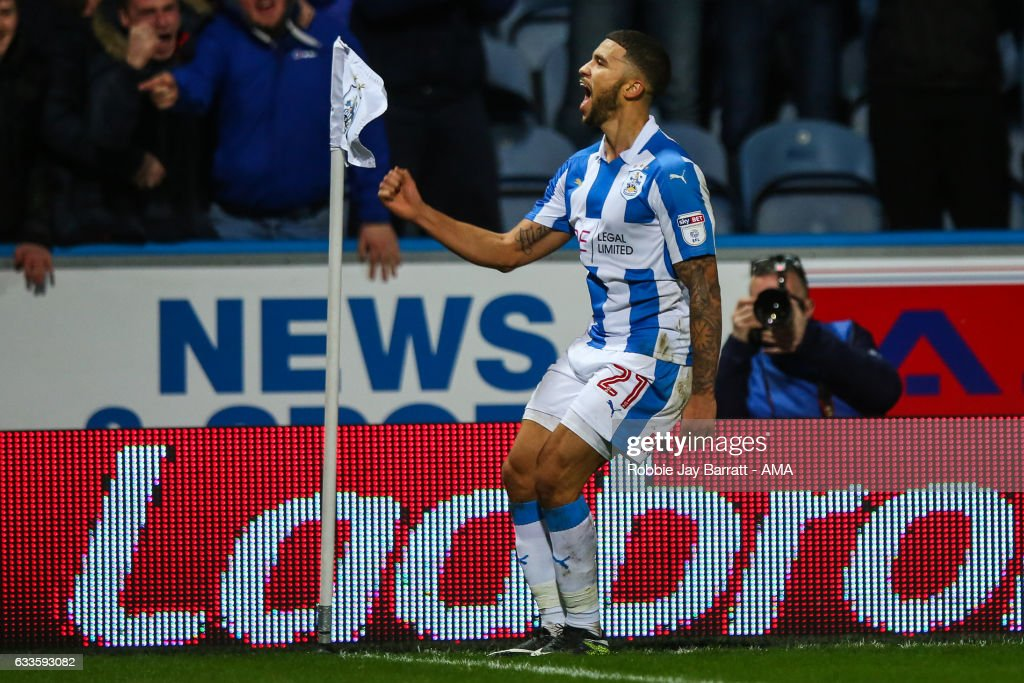 Nahki Wells of Huddersfield Town celebrates after scoring a goal to make it 2-1 during the Sky Bet Championship match between Huddersfield Town and Brighton & Hove Albion at The John Smiths Stadium on February 2, 2017 in Huddersfield, England.