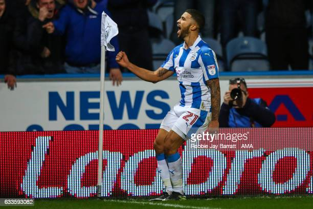 Nahki Wells of Huddersfield Town celebrates after scoring a goal to make it 21 during the Sky Bet Championship match between Huddersfield Town and...