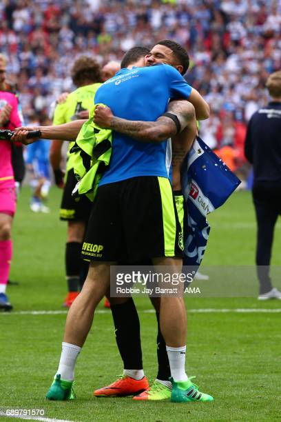 Nahki Wells of Huddersfield Town celebrates during the Sky Bet Championship Play Off Final match between Reading and Huddersfield Town at Wembley...