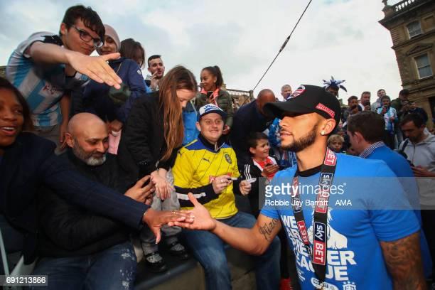 Nahki Wells of Huddersfield Town greats fans on May 30 2017 in Huddersfield England Nahki Wells