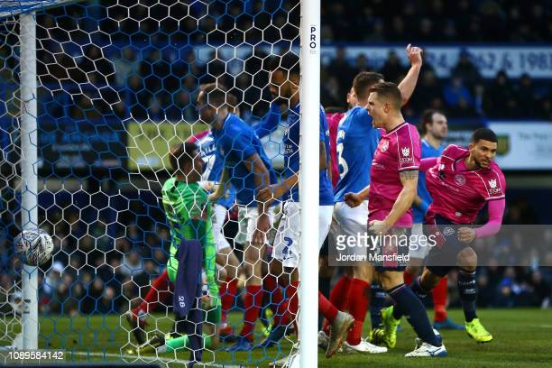 Nahki Wells of Queens Park Rangers celebrates after scoring his team's first goal during the FA Cup Fourth Round match between Portsmouth and Queens...