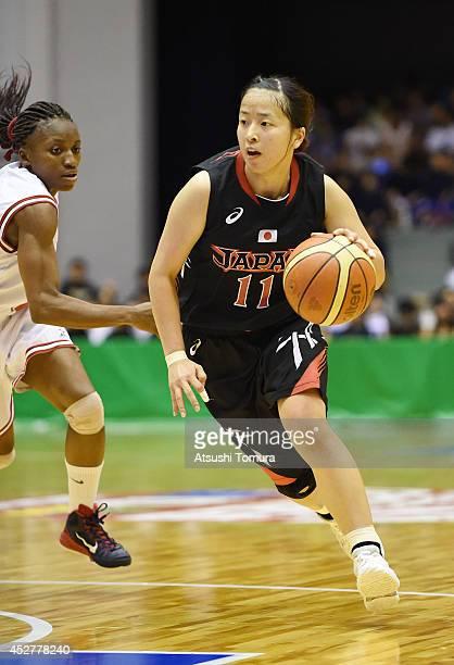 Naho Miyoshi of Japan drives the ball during the women's basketball international friendly match between Japan and Mozambique at Kamiyama City Sports...