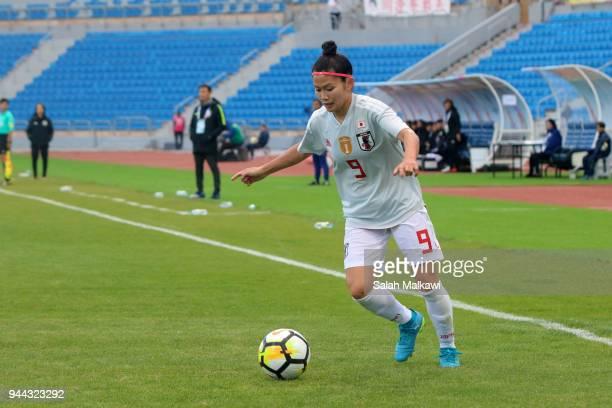 Nahomi Kawasumi and Aya Sameshima of Japan and G E Jeon of Korea Republic in action during the AFC Women's Asian Cup Group B match between South...