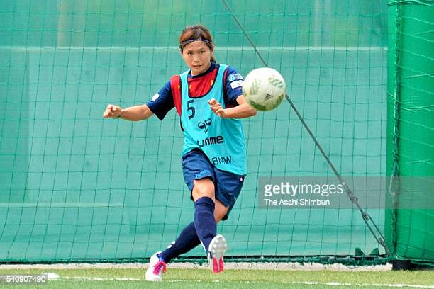 Nahomi Kawasumi of INAC Kobe Leonessa in action during a training session on June 17 2016 in Kobe Hyogo Japan INAC Kobe Leonessa announced that...