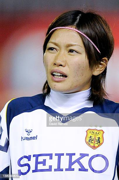 Nahomi Kawasumi of INAC Kobe Leonessa looks on prior to a friendly match between FC Barcelona Ladies and INAC Kobe Leonessa at the Mini Estadi...