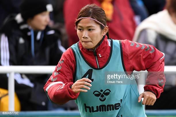Nahomi Kawasumi of INAC Kobe Leonessa warms up during the 38th Empress's Cup Semi Final between Vegalta Sendai Ladies and INAC Kobe Leonessa at...