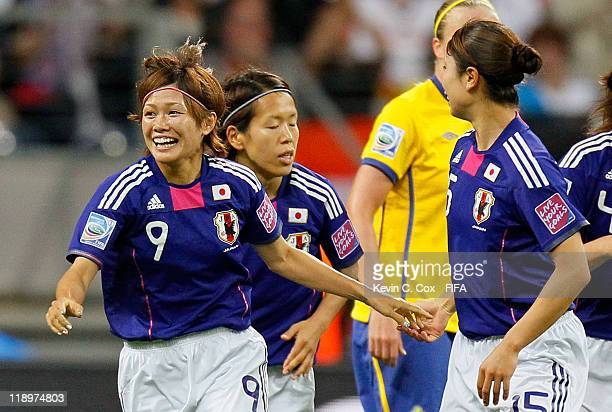 Nahomi Kawasumi of Japan celebrates after scoring against Sweden during the FIFA Women's World Cup Semi Final match between Japan and Sweden at the...