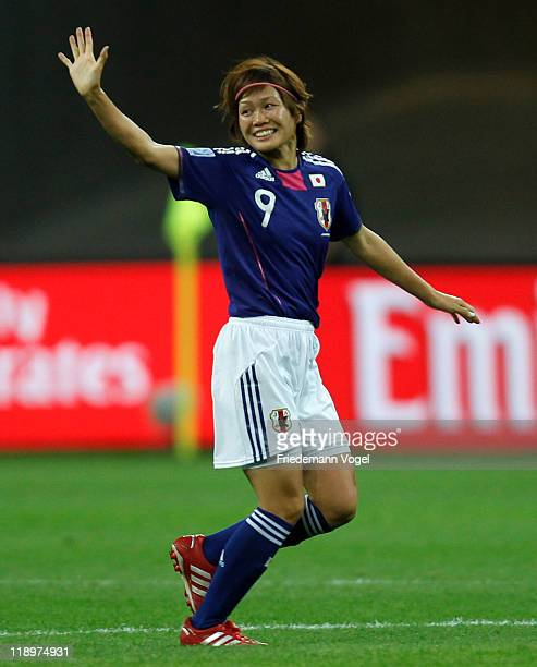 Nahomi Kawasumi of Japan celebrates after scoring her team's first goal during the FIFA Women's World Cup Semi Final match between Japan and Sweden...