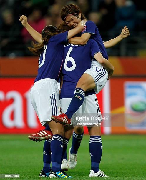 Nahomi Kawasumi of Japan celebrates after scoring her team's third goal during the FIFA Women's World Cup Semi Final match between Japan and Sweden...