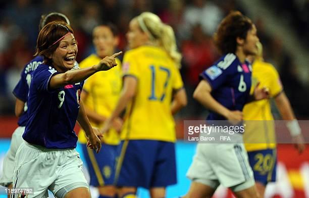 Nahomi Kawasumi of Japan celebrates after scoring his teams first goal during the FIFA Women's World Cup Semi Final match between Japan and Sweden at...