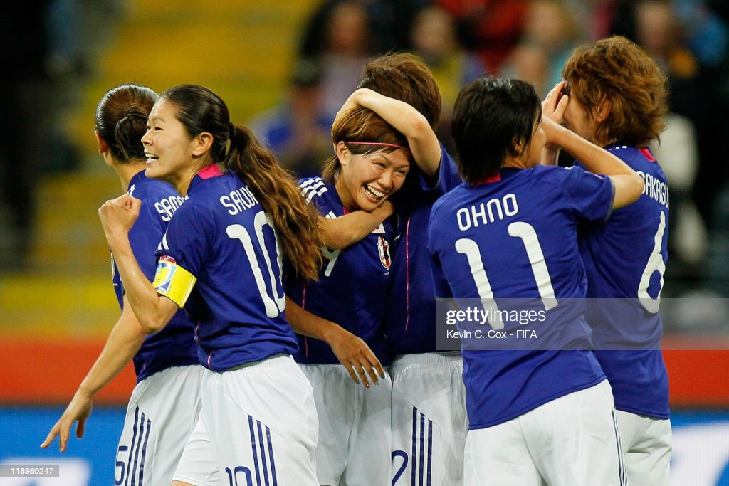 Nahomi Kawasumi of Japan celebrates her second goal against Sweden during the FIFA Women's World Cup Semi Final match between Japan and Sweden at the FIFA World Cup Stadium Frankfurt on July 13, 2011 in Frankfurt am Main, Germany.