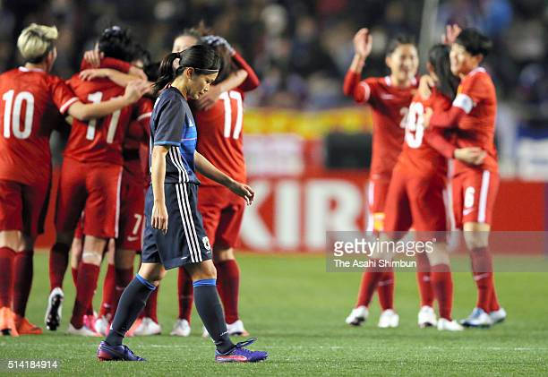 Nahomi Kawasumi of Japan leaves the pitch after the AFC Women's Olympic Final Qualification Round match between Japan and China at Kincho Stadium on...