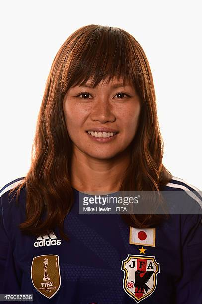 Nahomi Kawasumi of Japan poses for a portrait during the official Japan portrait session ahead of the FIFA Women's World Cup 2015 at the Sheraton...