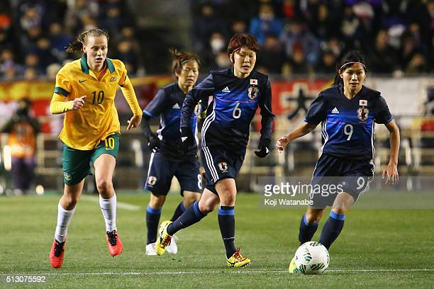 Nahomi Kawasumi of Japan runs with the ball during the AFC Women's Olympic Final Qualification Round match between Australia and Japan at Kincho...