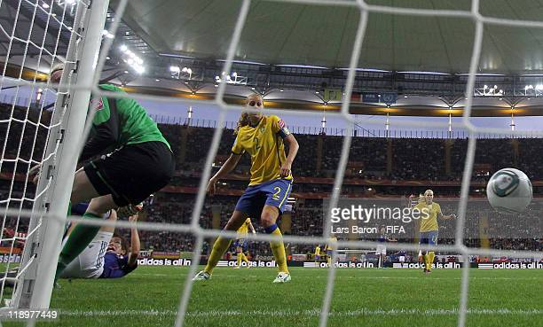 Nahomi Kawasumi of Japan scores her team's first goal during the FIFA Women's World Cup Semi Final match between Japan and Sweden at the FIFA World...