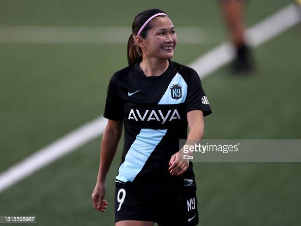 Nahomi Kawasumi of NJ/NY Gotham FC walks towards the bench after she is pulled from the game in the second half against the North Carolina Courage on...