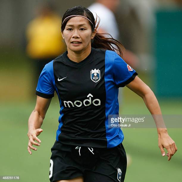 Nahomi Kawasumi of the Seattle Reign FC follows the play against the Chicago Red Stars at Moda Pitch at Memorial Stadium on July 20 2014 in Seattle...