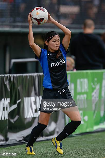 Nahomi Kawasumi of the Seattle Reign FC throws the ball in against the Chicago Red Stars at Moda Pitch at Memorial Stadium on July 20 2014 in Seattle...