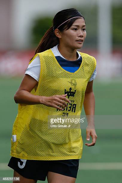 Nahomi Kawasumi of the Seattle Reign FC warms up prior to the match against the Chicago Red Stars at Moda Pitch at Memorial Stadium on July 20 2014...