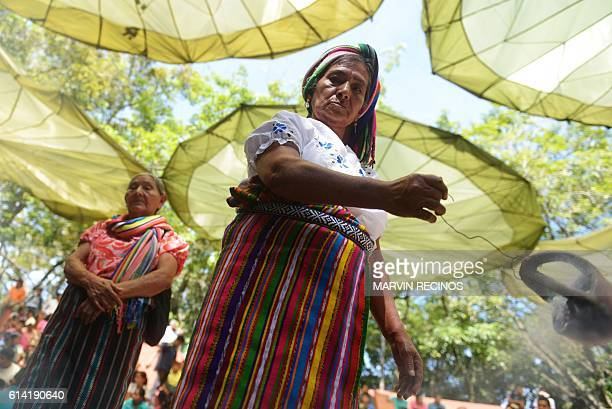Nahua Pipil indigenous women participate in a ceremony commemorating the International Day of Indigenous Resistance at the San Andres Archeological...