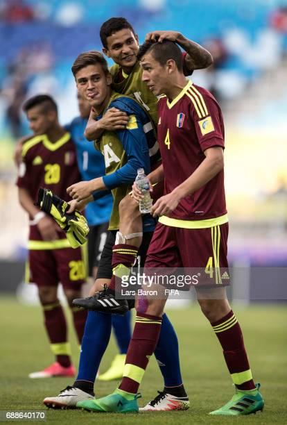 Nahuel Ferraresi of Venezuela celebrates with team mates after winning the FIFA U-20 World Cup Korea Republic 2017 group B match between Mexico and...