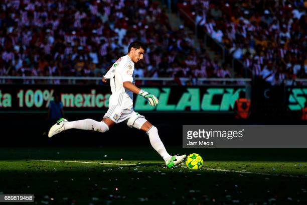 Nahuel Guzman goalkeeper of Tigres kicks the ball during the Final second leg match between Chivas and Tigres UANL as part of the Torneo Clausura...