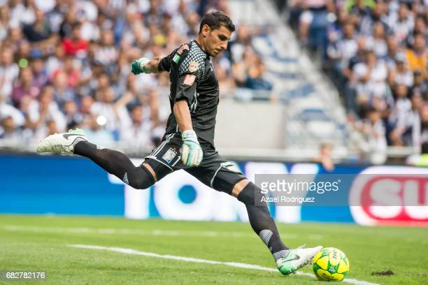 Nahuel Guzman goalkeeper of Tigres kicks the ball during the quarter finals second leg match between Monterrey and Tigres UANL as part of the Torneo...