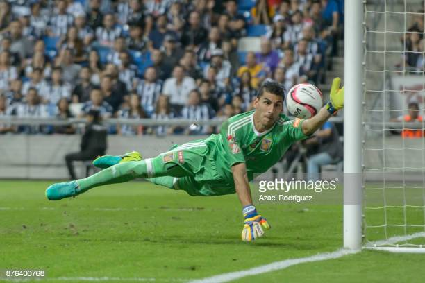 Nahuel Guzman goalkeeper of Tigres receives a goal that was nullified during the 17th round match between Monterrey and Tigres UANL as part of the...