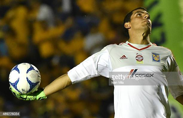Nahuel Guzman goalkeeper of Tigres throws the ball during a 9th round match between Tigres UANL and Monterrey as part of the Apertura 2015 Liga MX at...
