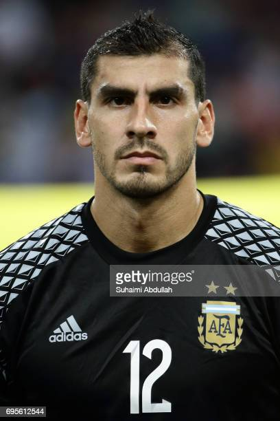 Nahuel Guzman of Argentina lines up on the pitch during the International Test match between Argentina and Singapore at National Stadium on June 13...