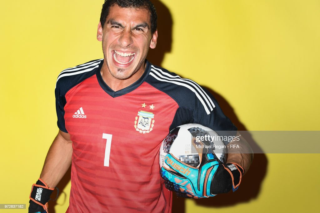 Nahuel Guzman of Argentina poses during the official FIFA World Cup 2018 portrait session at on June 12, 2018 in Moscow, Russia.