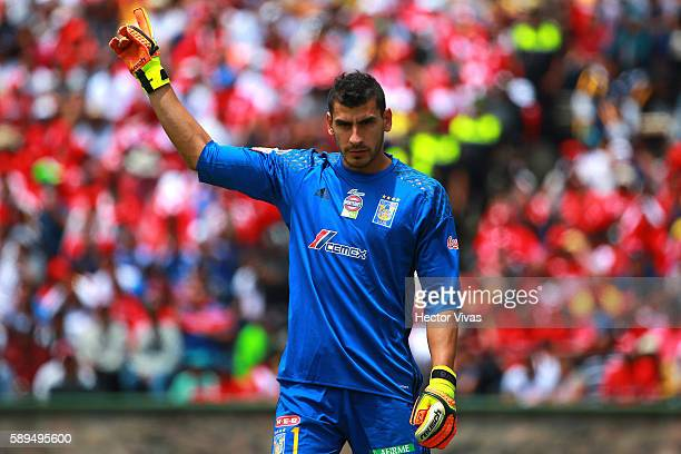Nahuel Guzman of Tigres celebrates during the 5th round match between Toluca and Tigres UANL as part of the Torneo Apertura 2016 Liga MX at Alberto...