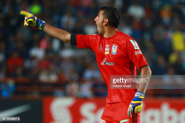 Nahuel Guzman of Tigres signals during the Final second leg match between Pachuca and Tigres UANL as part of the CONCACAF Champions League 2016/17 at...