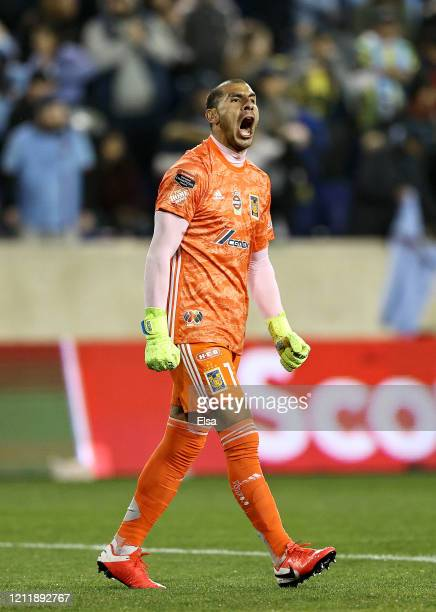 Nahuel Guzman of UANL Tigres celebrates the win over the New York City FC during Leg 1 of the quarterfinals during the CONCACAF Champions League...
