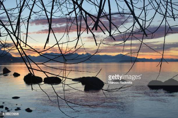 nahuel huapi lake, at sunset - radicella stock pictures, royalty-free photos & images