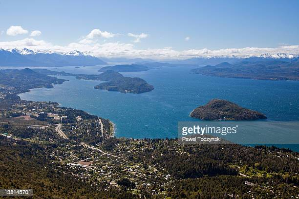 nahuel huapi lake seen from cerro catedral - リオネグロ州 ストックフォトと画像