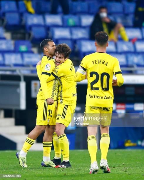 Nahuel Leiva of Real Oviedo celebrates scoring his side's first goal during the Liga Smartbank match betwen RCD Espanyol de Barcelona and Oviedo at...
