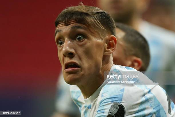 Nahuel Molina of Argentina reacts during a group A match between Argentina and Paraguay as part of Conmebol Copa America Brazil 2021 at Mane...