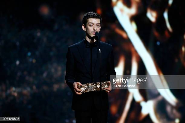 Nahuel Perez Biscayart poses with the best male newcomer award for the movie 120 BPM during the Cesar Film Awards 2018 at Salle Pleyel on March 2...