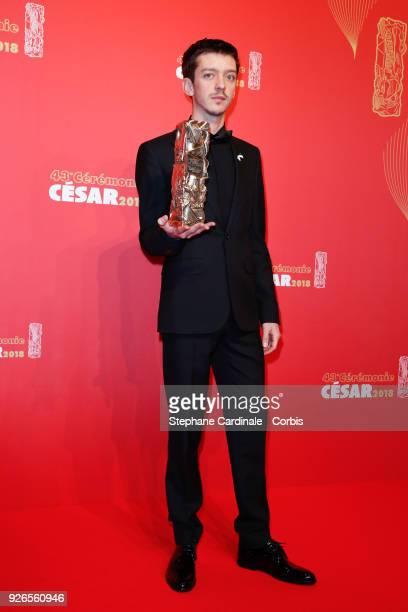 Nahuel Perez Biscayart poses with the Cesar award for Best Male Newcomer for '120 Battements par Minute' during the Cesar Film Awards at Salle Pleyel...