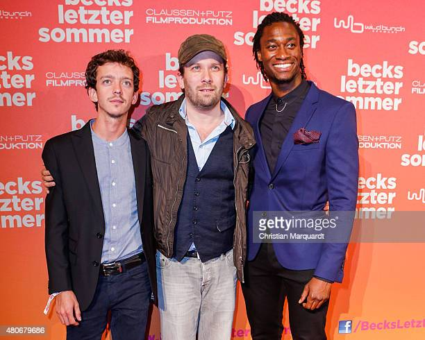 Nahuel Pérez Biscayart, Christian Ulmen and Eugene Boateng attend the premiere for the film 'Becks letzter Sommer' at Kino in der Kulturbrauerei on...