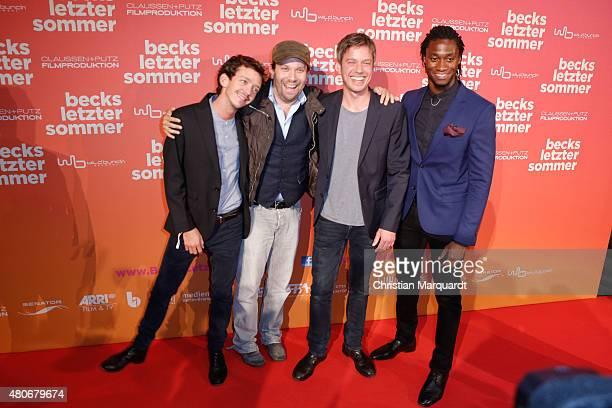 Nahuel Pérez Biscayart, Christian Ulmen; Frieder Wittich and Eugene Boateng attend the premiere for the film 'Becks letzter Sommer' at Kino in der...