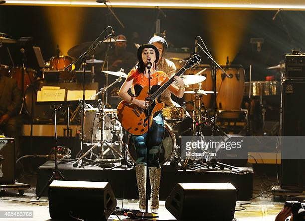 Nai Palm of Hiatus Kaiyote performs onstage during the 56th GRAMMY Awards held at Staples Center on January 26 2014 in Los Angeles California