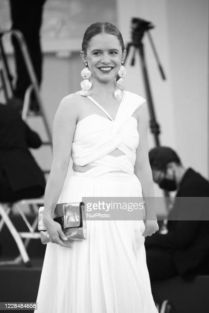 Image was converted to black and white) Naian González Norvind walks the red carpet ahead of closing ceremony at the 77th Venice Film Festival on...